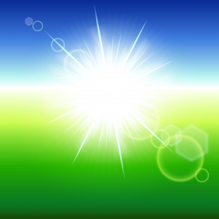 Summer abstract background with sunbeams. Vector illustration.  Vector