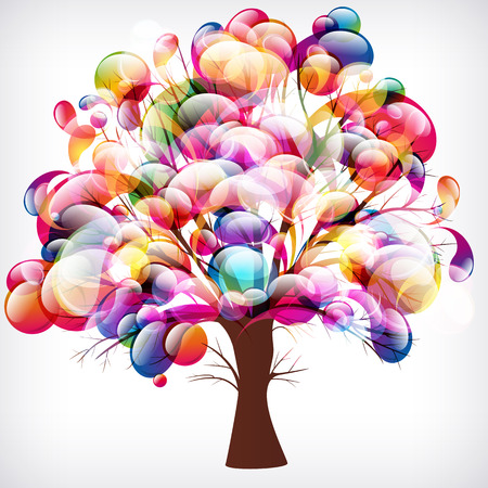 branch to grow up: abstract background, tree with branches made of colorful drops