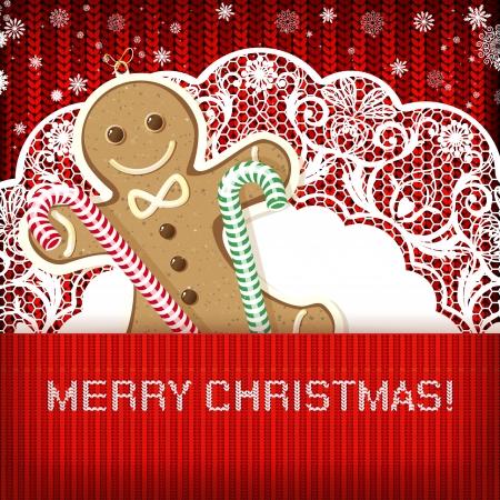 galletas de jengibre: Adornos de Navidad sobre fondo hecho a mano de punto