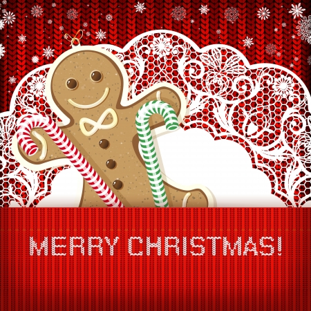 knitted background: Adornos de Navidad sobre fondo hecho a mano de punto