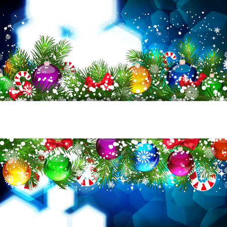 Christmas background with Christmas tree branch decorated with glass balls. Vector