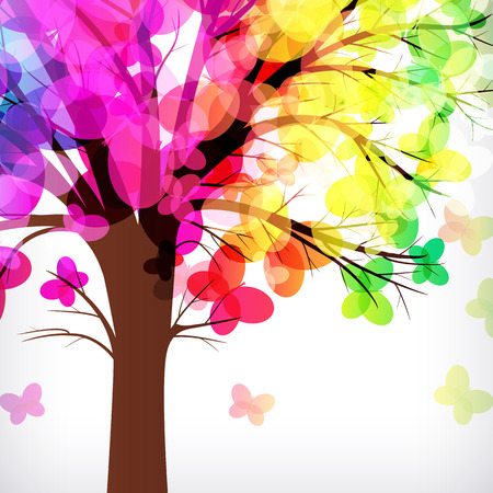 bush to grow up: abstract background, tree with branches made of colorful butterflies. Illustration