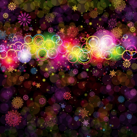 sparkler: Abstract colorful rings and snowflakes on a dark background. Christmas card. Illustration