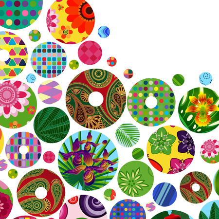 indian summer: Multicolor abstract bright background with ornamental circles. Elements for design.  Illustration