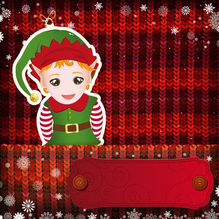 knitted background: Adornos navide�os hechos a mano en el fondo de punto.