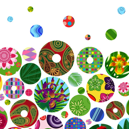 wedding backdrop: Multicolor abstract bright background with ornamental circles.