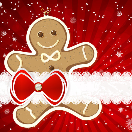 gingerbread: Christmas background with christmas decor elements, vector illustration.