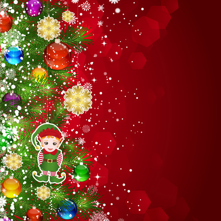 Christmas background with Christmas tree branches decorated with glass balls and toys. Vector