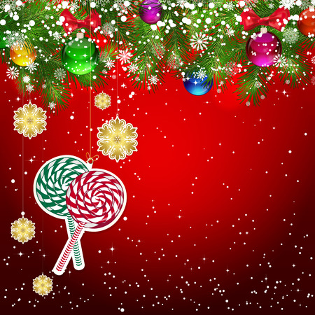 snowflacke: Christmas background with Christmas tree branches decorated with glass balls and toys.