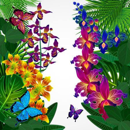 purple butterfly: Floral design background. Tropical orchid flowers, leaves and butterflies.