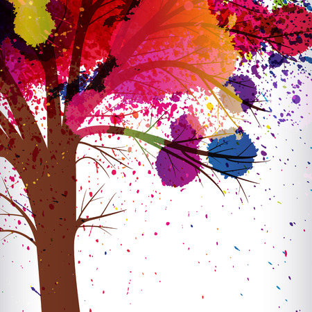 genealogical: abstract background, tree with branches made of watercolor drops.