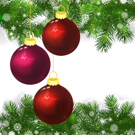 snowflacke: Christmas background with Christmas balls and green branches of Christmas tree.