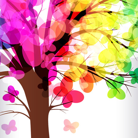 branch to grow up: abstract background, tree with branches made of colorful butterflies. Illustration