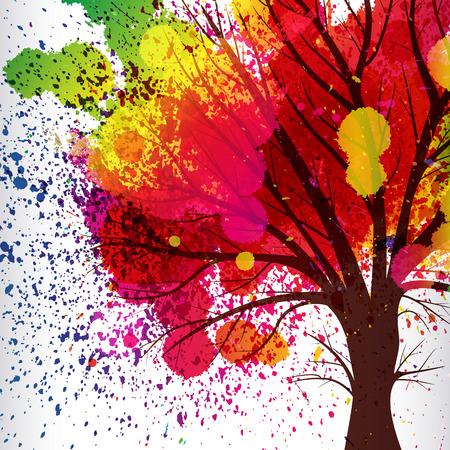 fondo abstracto, árbol con ramas hechas de gotas de acuarela.
