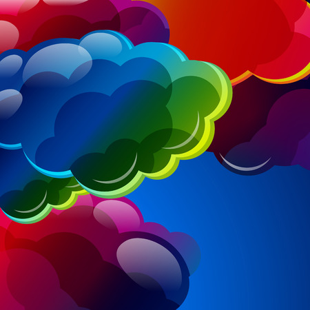 cloudy weather: Abstract background with colorful illuminated clouds in the blue sky. Vector illustration.