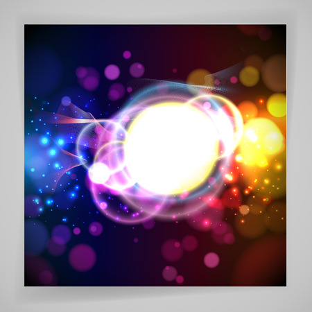 abstracts: Round place for your text and abstracts dynamic elements on a dark background. Vector. Illustration