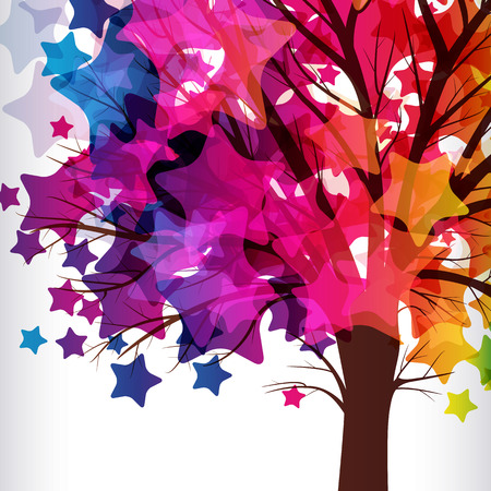 bush to grow up: abstract background, tree with branches made of colorful stars. Illustration