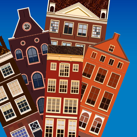 residential building: Street of abstract old houses. Vector background. Stock Photo