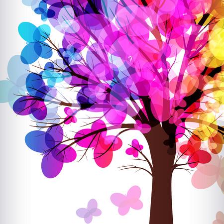 dibujo: fondo abstracto, árbol con ramas hechas de coloridas mariposas.