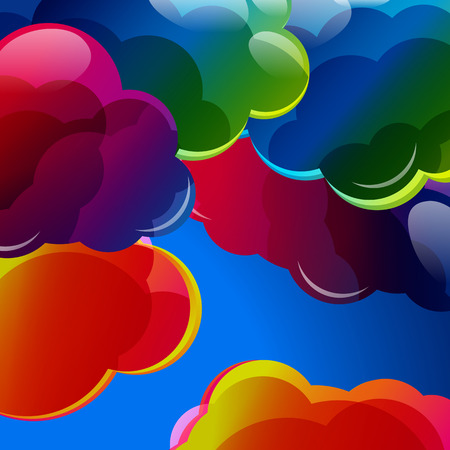 colorful: Abstract background with colorful illuminated clouds in the blue sky. Vector illustration.