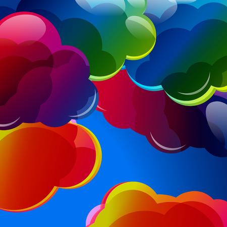 colorido: Resumen de fondo con nubes iluminadas de colores en el cielo azul. Ilustración del vector.