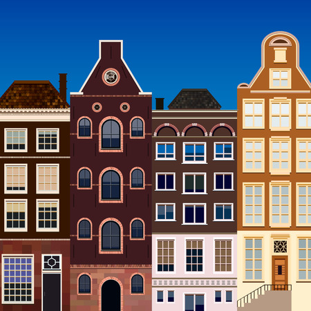 old houses: Street of abstract old houses. Vector background. Stock Photo