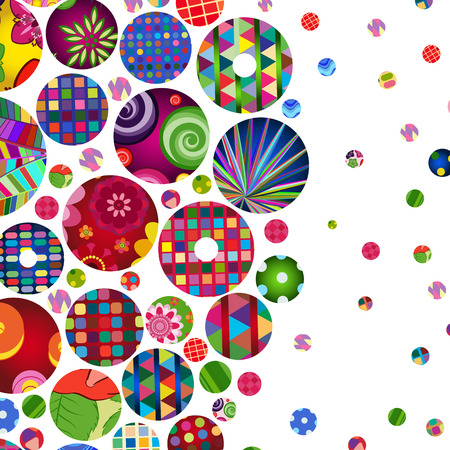 ornaments floral: Multicolor abstract bright background with ornamental circles. Elements for design.