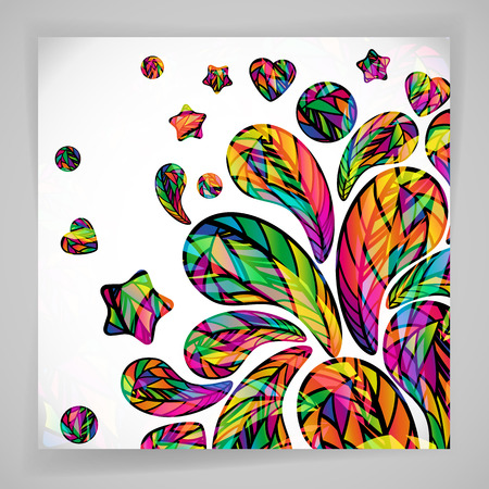 abstract design elements: Abstract background with colorful mosaic design elements.