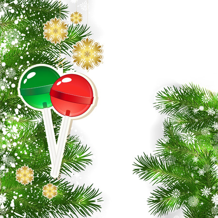 snowflacke: Christmas background with Christmas decor and green branches of Christmas tree.