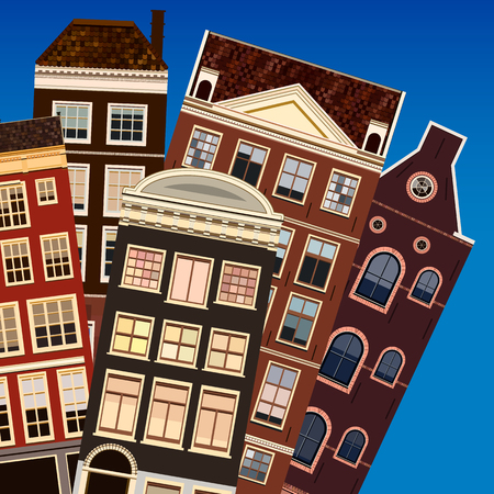 old windows: Street of abstract old houses. Vector background. Stock Photo