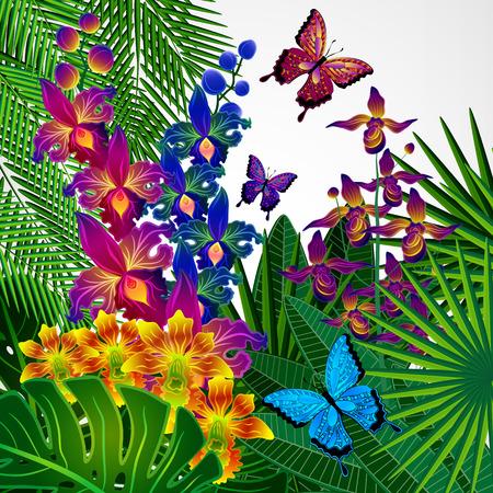 Disegno di sfondo floreale. Fiori di orchidee tropicali, foglie e farfalle. Archivio Fotografico - 45319887
