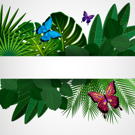 Tropical leaves with butterflies. Floral design background. Illustration