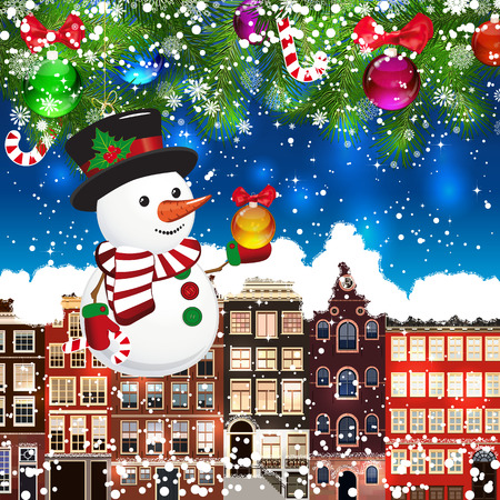 Christmas snowman on the background of snow-covered streets. Green branches of Christmas trees decorated with Christmas balls and sweets. Christmas background.