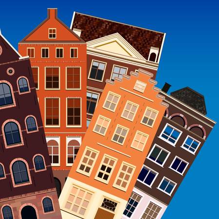 old street: Street of abstract old houses. Vector background. Illustration