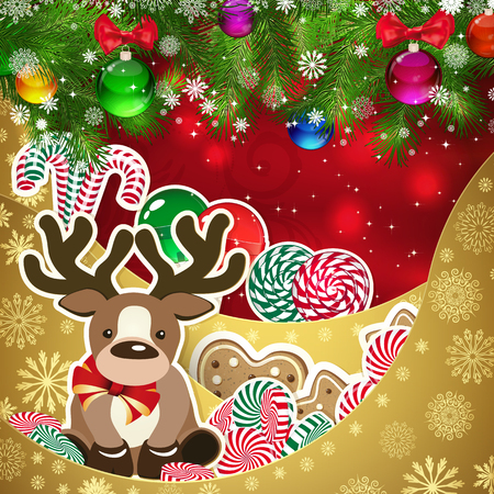 red deer: Deer on the background of sweets, decorated Christmas balls branches. Red background and gold layers, decorated with snowflake patterns. Christmas card. Illustration