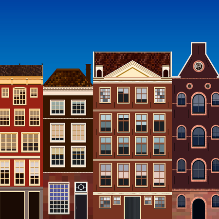 old windows: Street of abstract old houses. Vector background. Illustration