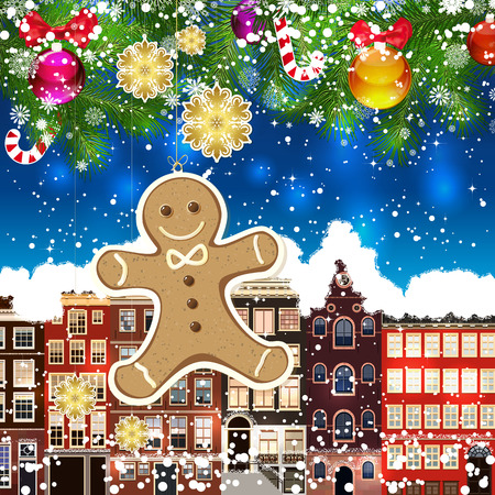 snowcovered: Christmas gingerbread man on the background of snow-covered streets. Green branches of Christmas trees decorated with Christmas balls and sweets. Christmas background.