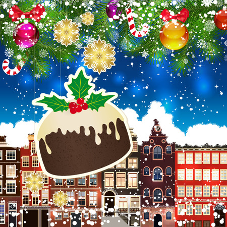snowcovered: Christmas pudding on the background of snow-covered streets. Green branches of Christmas trees decorated with Christmas balls and sweets. Christmas background. Illustration