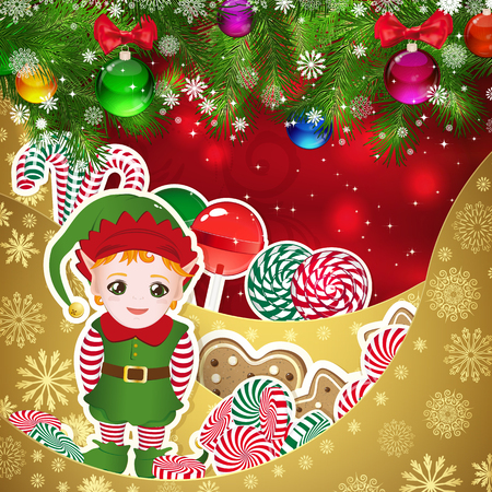 helper: Elf, Santas helper on the background of sweets, decorated Christmas balls branches. Red background and gold layers, decorated with snowflake patterns. Christmas card.