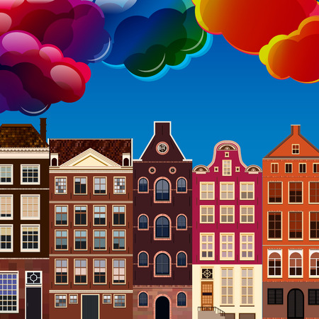 houses: Street of abstract old houses. Vector background. Illustration