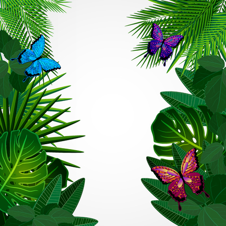 tropical tree: Tropical leaves with butterflies. Floral design background. Illustration