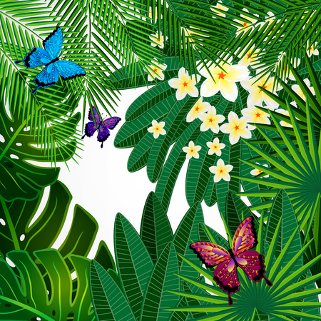 pink plumeria: Floral design background. Plumeria flowers, tropical leaves and butterflies.