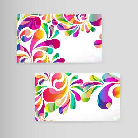 colorful abstract background: Sample business card with bright teardrop-shaped arches.