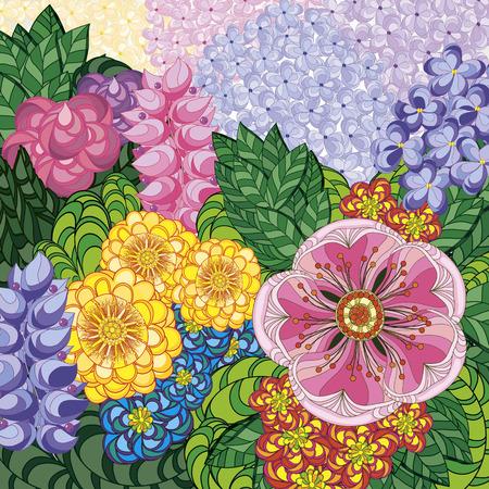 Vektor-Illustration Grußkarte Schönheit und Mode. Hintergrund mit Blumen und Blätter. kritzeln. Erwachsene Färbung Bücher.