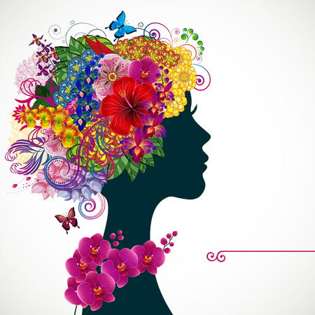 heir: Beautiful young woman with tropicl flowers in heir hair. Vector illustration greeting card beauty and fashion.