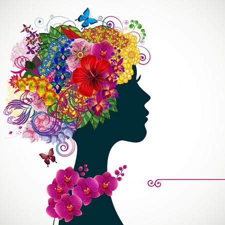 Mooie jonge vrouw met tropicl bloemen in erfgenaam haar. Vector illustratie wenskaart schoonheid en mode.