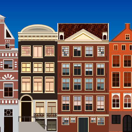 old houses: Street of abstract old houses. Vector background. Illustration