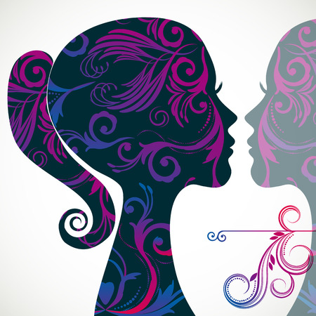 Profile of beautiful young woman decorated with floral patterns. And reflection. Vector illustration greeting card beauty and fashion. Illustration