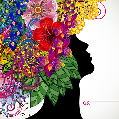 Beautiful young woman with tropicl flowers in heir hair. Vector illustration greeting card beauty and fashion.