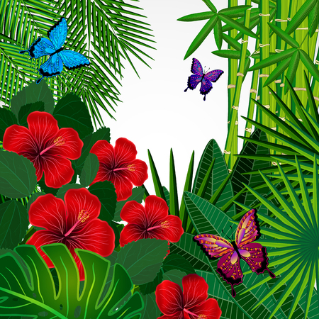 foliages: Tropical floral design background with butterflies.